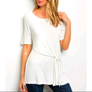 Super Cute White Short Sleeve Knot Jersey Tunic